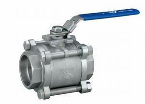 SCREWED STAINLESS STEEL 3 PIECE BALL VALVE